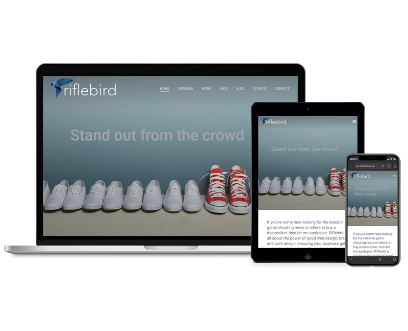 Responsive web design example showing a site on different devices